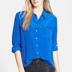 Royal Blue Two By Vince Camuto Silk Button Down XL